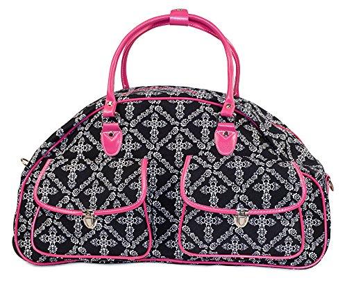 Ever Moda Pink Black Crosses Rolling Wheeled Duffle Bag 22-inch