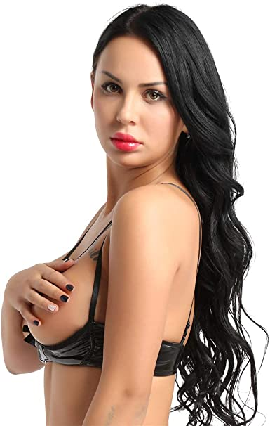 YiZYiF Womens PVC Wet Look Lingerie Stretch Vinyl Shelf Bra Quarter Cup Exposed Nipples Bra