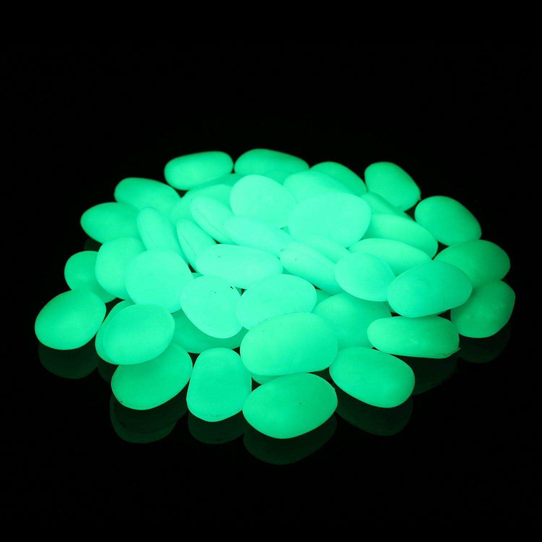 Alan Stone Glow in The Dark Pebbles, Garden Pebbles, Decorative Stones, Aquarium Gravel, Glow Marbles Luminous Rocks for Vase Fillers Outdoor DIY Garden Gifts Decoration, 3-4cm, 400g/0.88lbs, Aqua