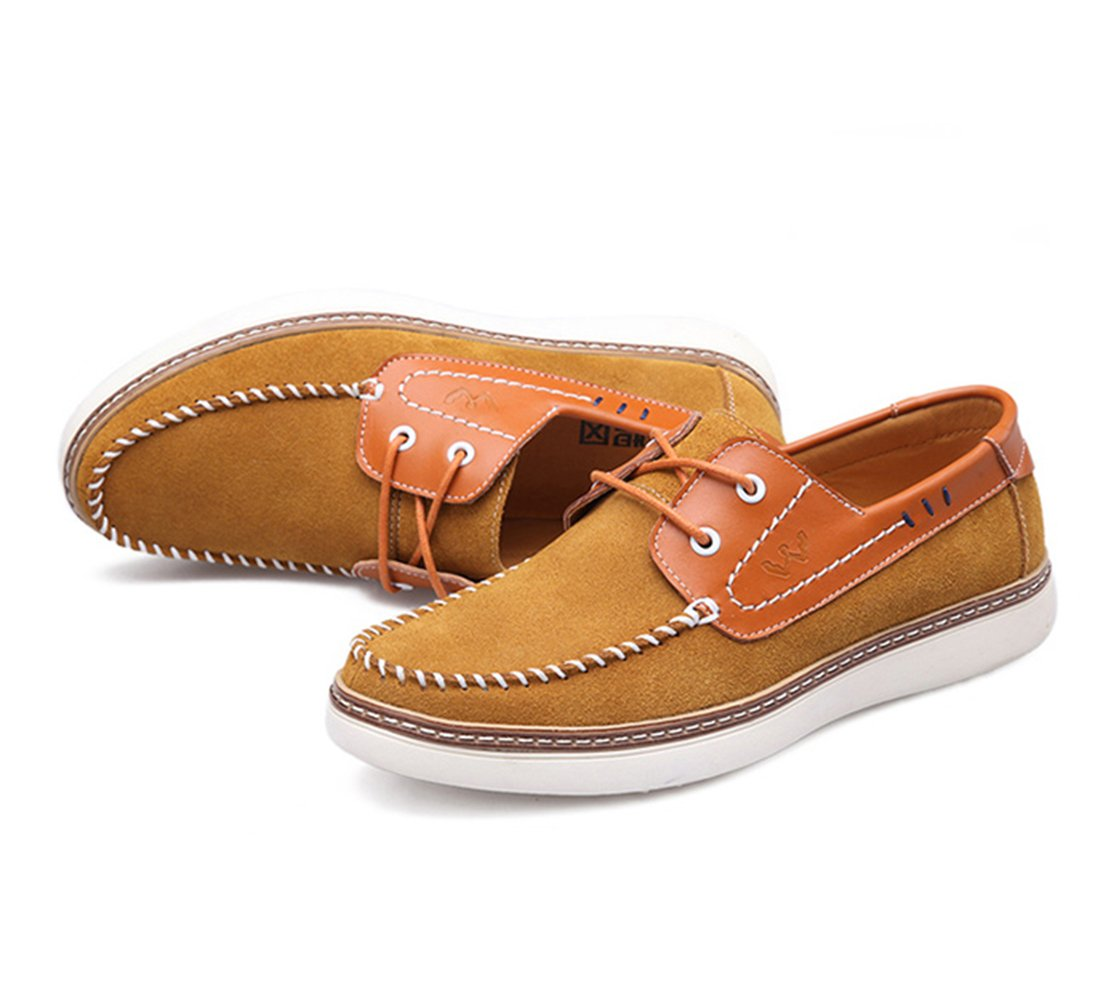 Men's Casual Leather Walking Boat Shoe - Slip-Resistant and Breathable - Perfect for Working and Outdoor Activities H302-41LB