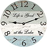 Cheap Lionkin8 Four Color Lake Wall Clock Decorative Round Novelty Printed Wood Clock – 12 inch
