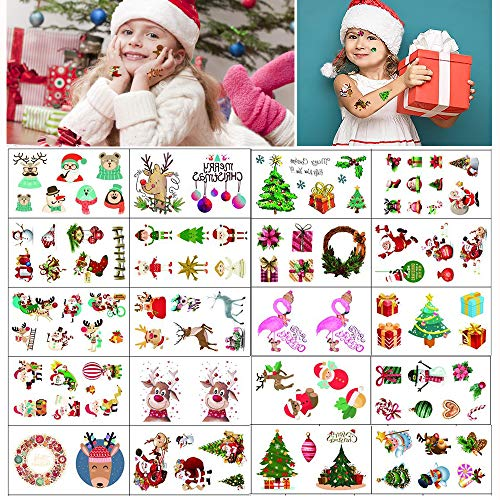 Dream Loom 20 Sheets Christmas Tattoos,Temporary Tattoos for Kids with 100 Xmas Patterns,Fake Stickers Face Body Tattoos, Holiday Party Supplies Favors Stocking Stuffers -