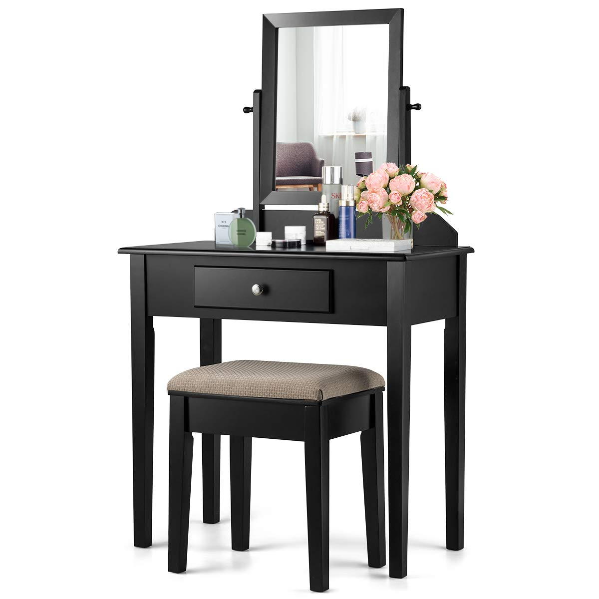 CHARMAID Vanity Set with Large 360 Swivel Mirror and Cushioned Stool, Dressing Table with Large Drawer, Makeup Table Writing Desk with Removable Top, Makeup Vanity Set for Girls Women, Black