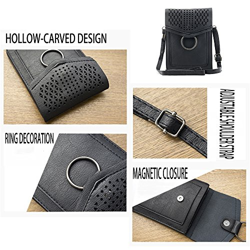 Bag Leather Black Hollow PU Crossbody wallet Bausweety Cell Portable Small Phone HFIAw7