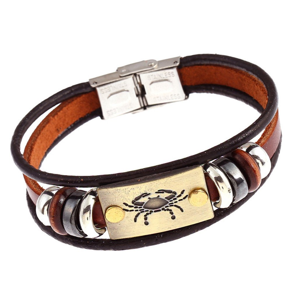 Wintefei Constellations Zodiac Unisex Retro Wooden Beads Faux Leather Bracelet Bangle - Cancer