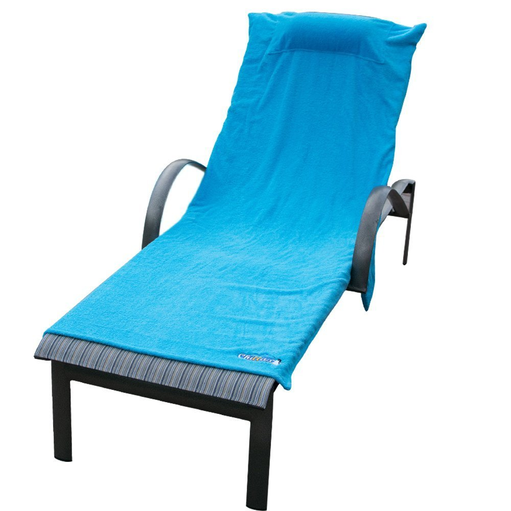 Chillax Beach Chair Pool Towels - A Must Have on a Cruise Ship for Men and Women. Towel Accessories Include Pillow and Side Pockets. No Clips Needed. Lounge Chaise Cover Great for Sunbathing at Hotel by Chillax