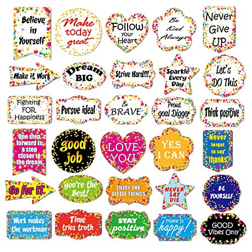 60pcs Confetti Positive Sayings Accents Back to School Water Bottle Stickers Confetti Accents Removable Confetti Stickers for Classroom Bulletin Board Decoration