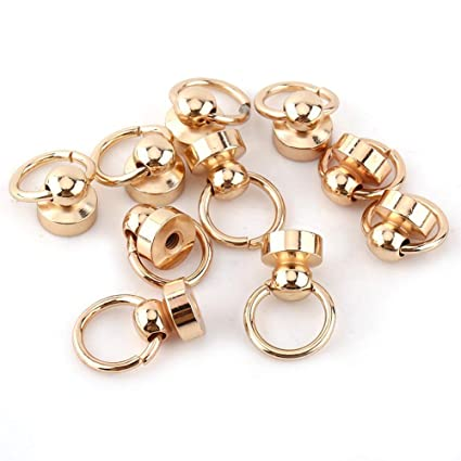 10PCS Rivet Studs Brass Rivet Screw Back Round Head Ring for Leather Craft Repairs Decoration