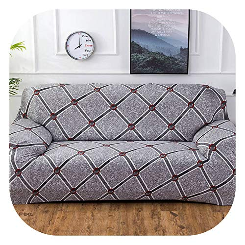Fairy music Geometric Colorful Printing Sofa Cover Elastic Slipcovers Aunty-Dirty Couch Cover Sofa Furniture Cover Towel All Wrap,Color 19,4seater 235-300cm