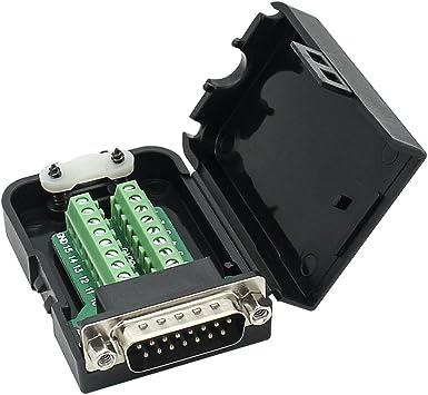 DB15 15 Pin D-SUB VGA female Terminal Breakout Plastic cover nut 3+9 BLACK