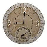 Taylor Precision Products 92682 Poly Resin Terra Cotta Stone Clock with Thermometer, 14'' Dial, Multicolored
