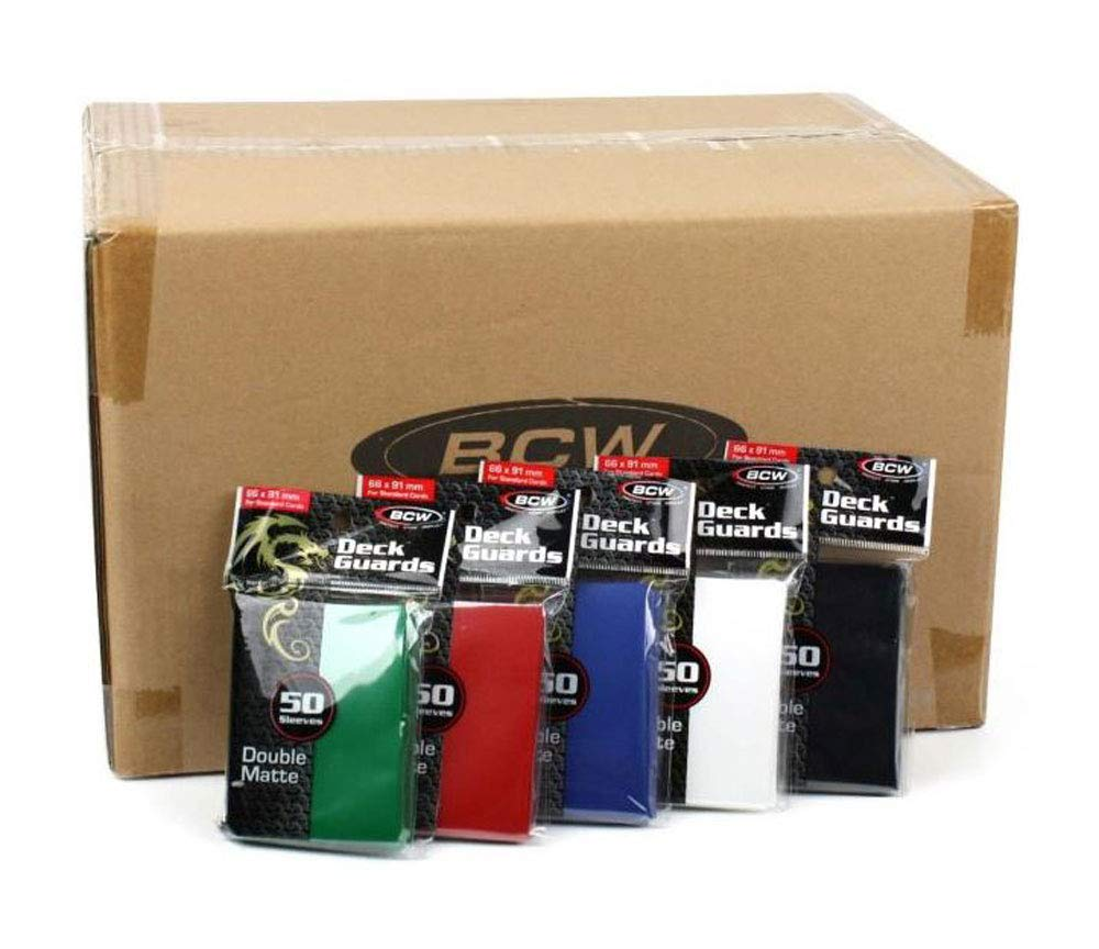 Mixed Case of BCW Double Matte Deck Guards - 12 Boxes (5 Colors) of Ten 50ct Packs (6,000 Sleeves Total)