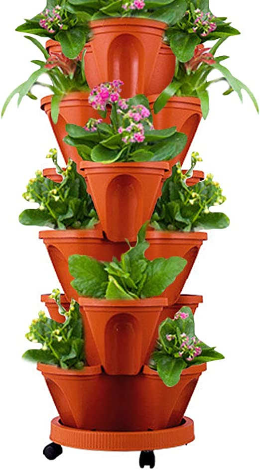 Amazon Com Waqia House Set Of 7 Vertical Gardening Planter Stackable Flower Pot Tower Herb And Strawberry Planters Stacking Garden Pots With Saucer Home Kitchen