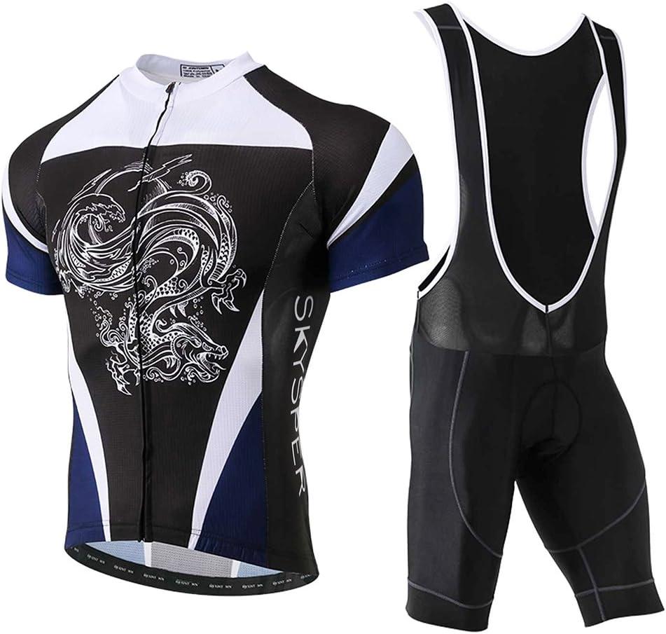 SKYSPER Ciclismo Maillot Hombres Jersey + Pantalones Cortos Culote Mangas Cortas de Ciclismo Conjunto de Ropa Maillot Transpirable para Deportes al Aire Libre Ciclo Bicicleta: Amazon.es: Deportes y aire libre