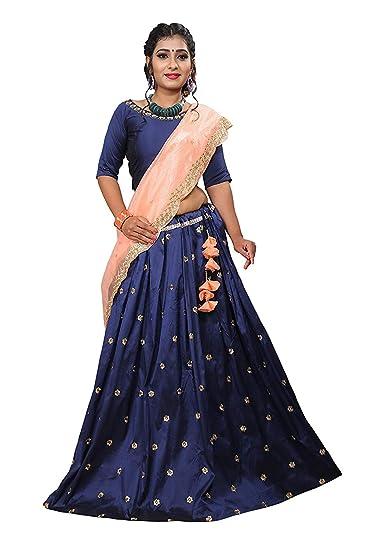615e0457d7e RIANA CREATION- Women s Navy Blue Taffeta Silk Embroidered Lehenga Choli  Free Size (Rimzim)  Amazon.in  Clothing   Accessories