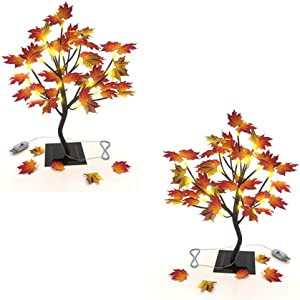 OKORAY Maple Tree Light Pack 2 Tabletop Seasonal Gift Decors Ornament 24 LED USB End, Thanksgiving Decor Light Maple Leave Branch and Autumn Artificial Tree for Indoor Home Fall Decoration