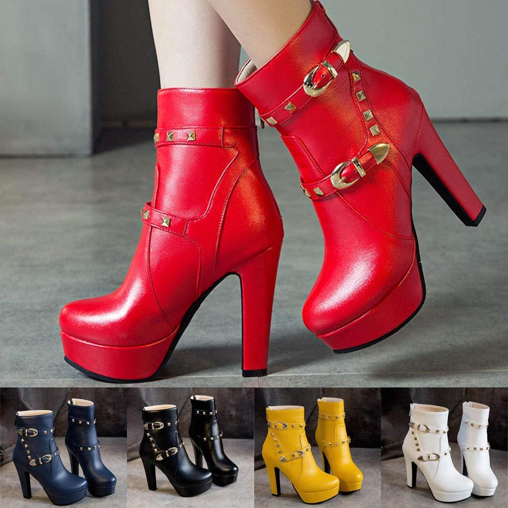 Clearance Swiusd Womens Stiletto Boots Trendy Rivet High Thin Heele Strap Buckle Booties Warm PU Leather Autumn Single Shoes