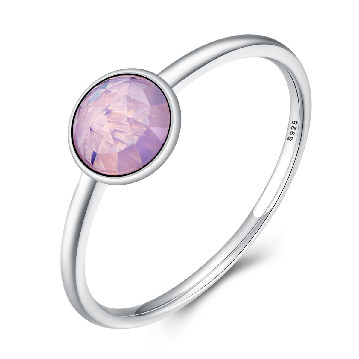 The Kiss October Droplet 925 Sterling Silver Stackable Ring Opalescent Pink CZ