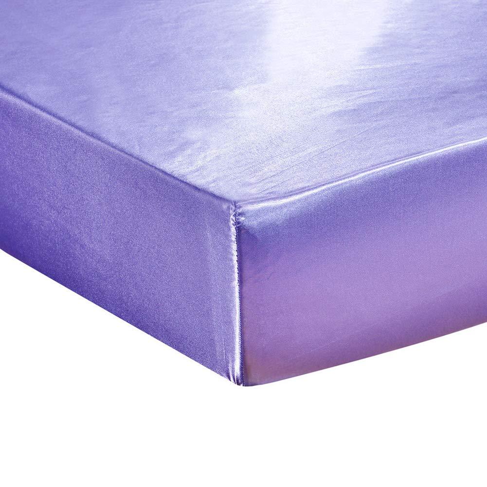 elegantstunning Emulation Silk Mattress Cover Beddings Supplies Lilac 19820330(7880)(0.6KG)