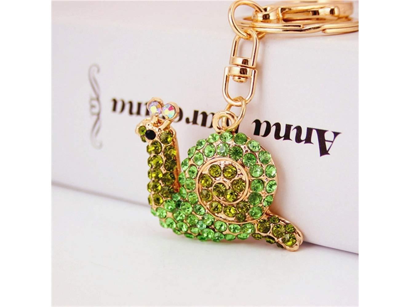 Car Keychain, Cute Small Snail Keychain Animal Key Trinket Car Bag Key Holder Decorations(Green) for Gift