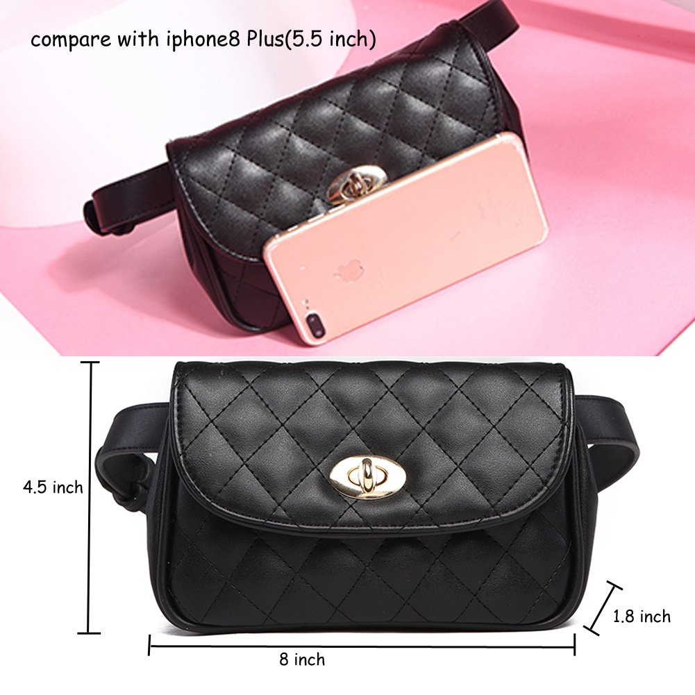 Fanny Pack for Women Fashion Waist Bag PU Quilted Belt Bag Bum Bag Chest Pack with Two Belts (Black) by VAQM (Image #5)