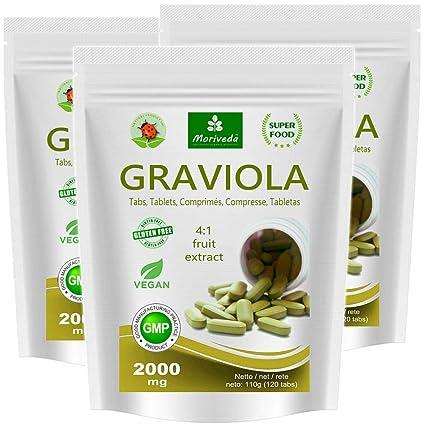 Graviola tabletas 360 x 2000mg extracto de fruta 4:1 vegano, producto de calidad