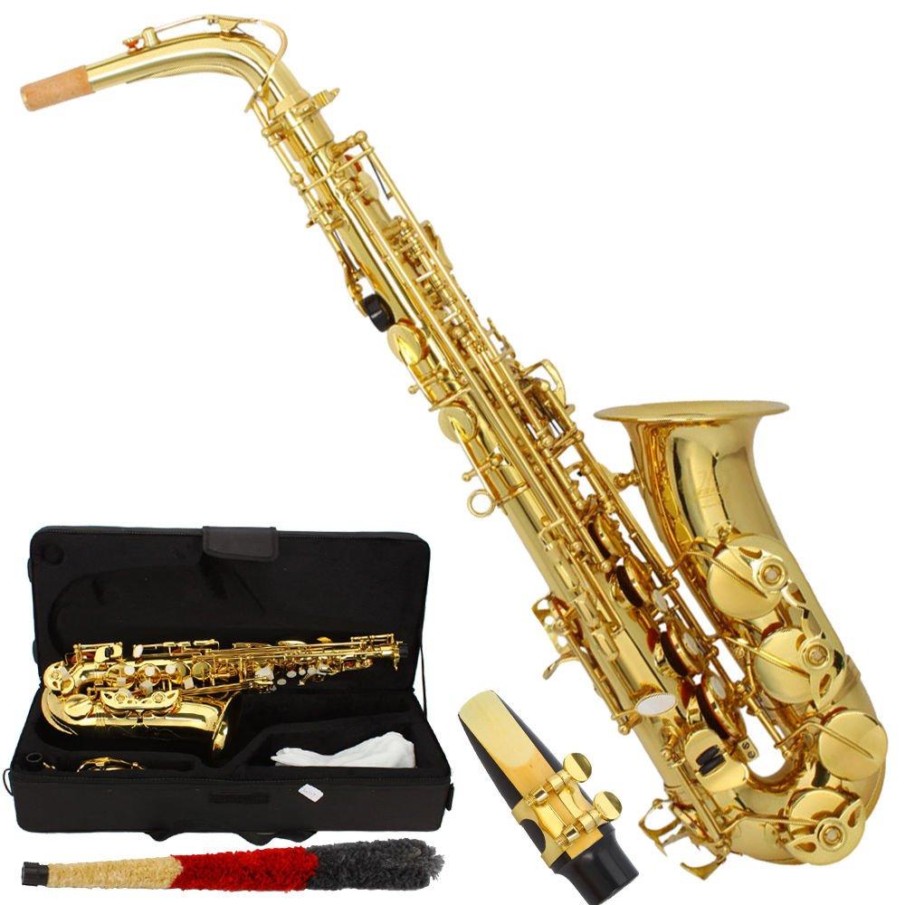 Marketworldcup- Professional Alto Eb Saxophone Sax Gold w/ Case Mouthpiece & Accessories