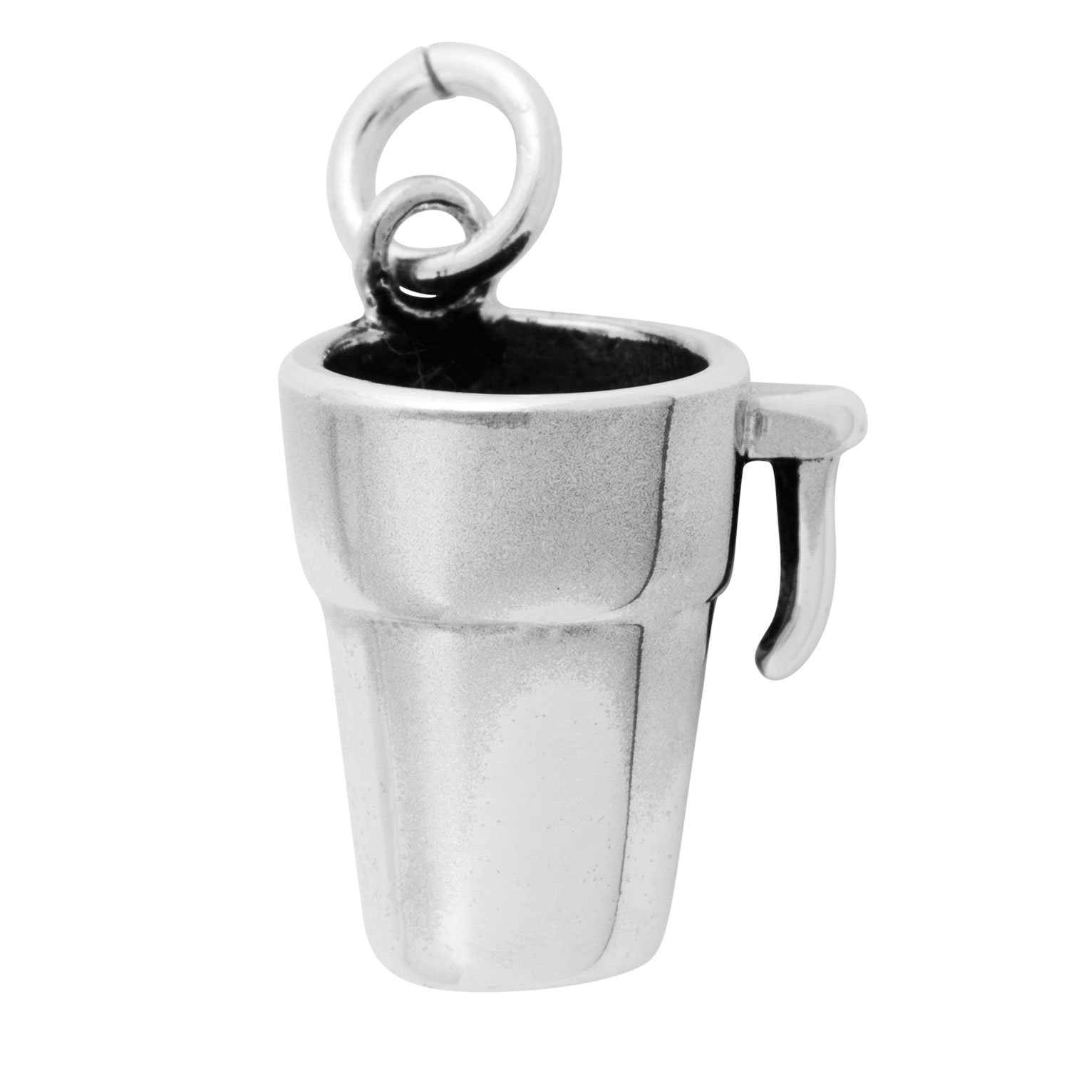 Sterling Silver 30'' Men's 1.5mm Box Chain 3D Coffee Cup Travel Mug Pendant Necklace by Auntie's Treasures