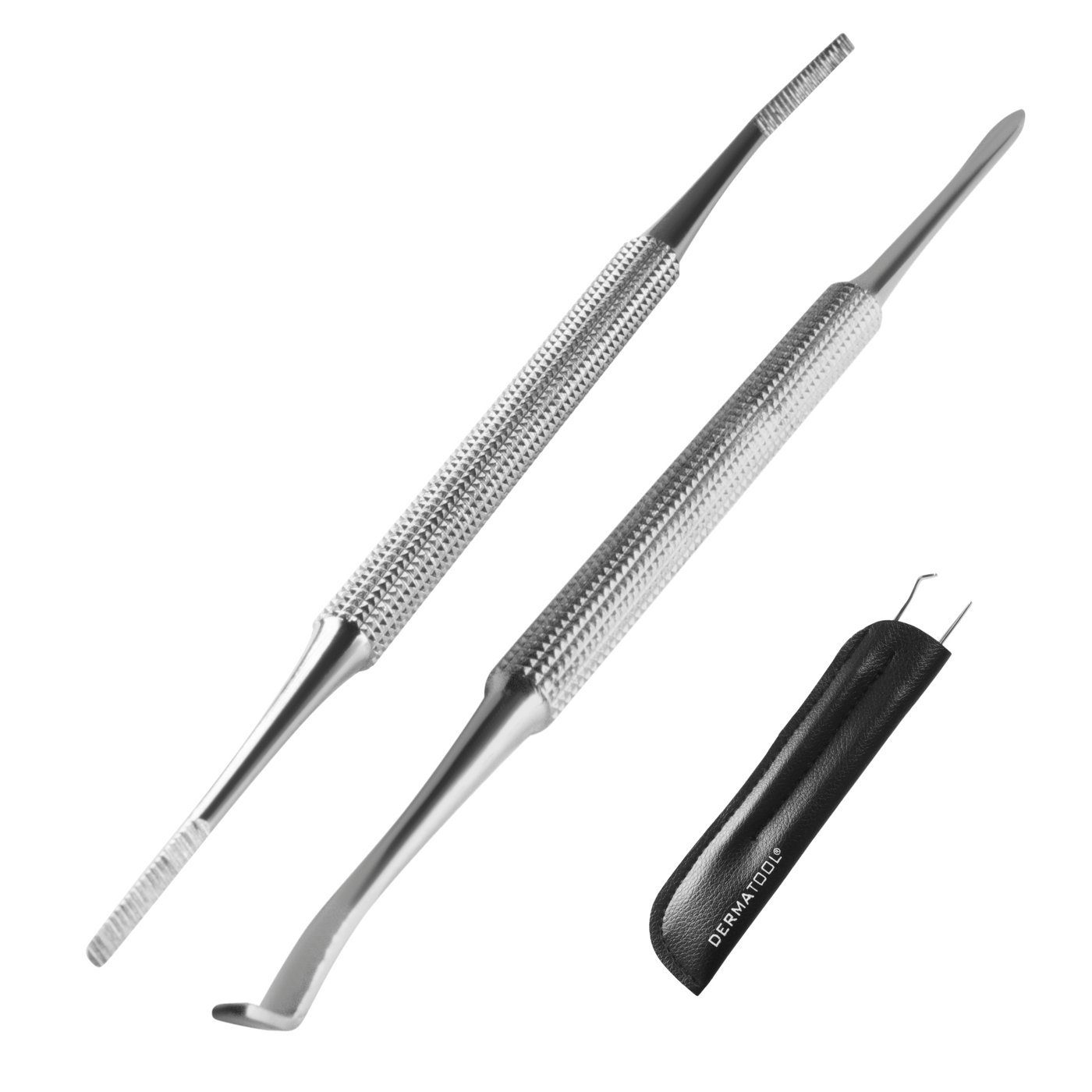 Ingrown Toenail Treatment Tool – Podiatrist Premium Set by DERMATOOL – Toenails, Pedicure, Nails, Stainless Steel Health Foot Care, Precision File and Excavator Lifter With Leather Case