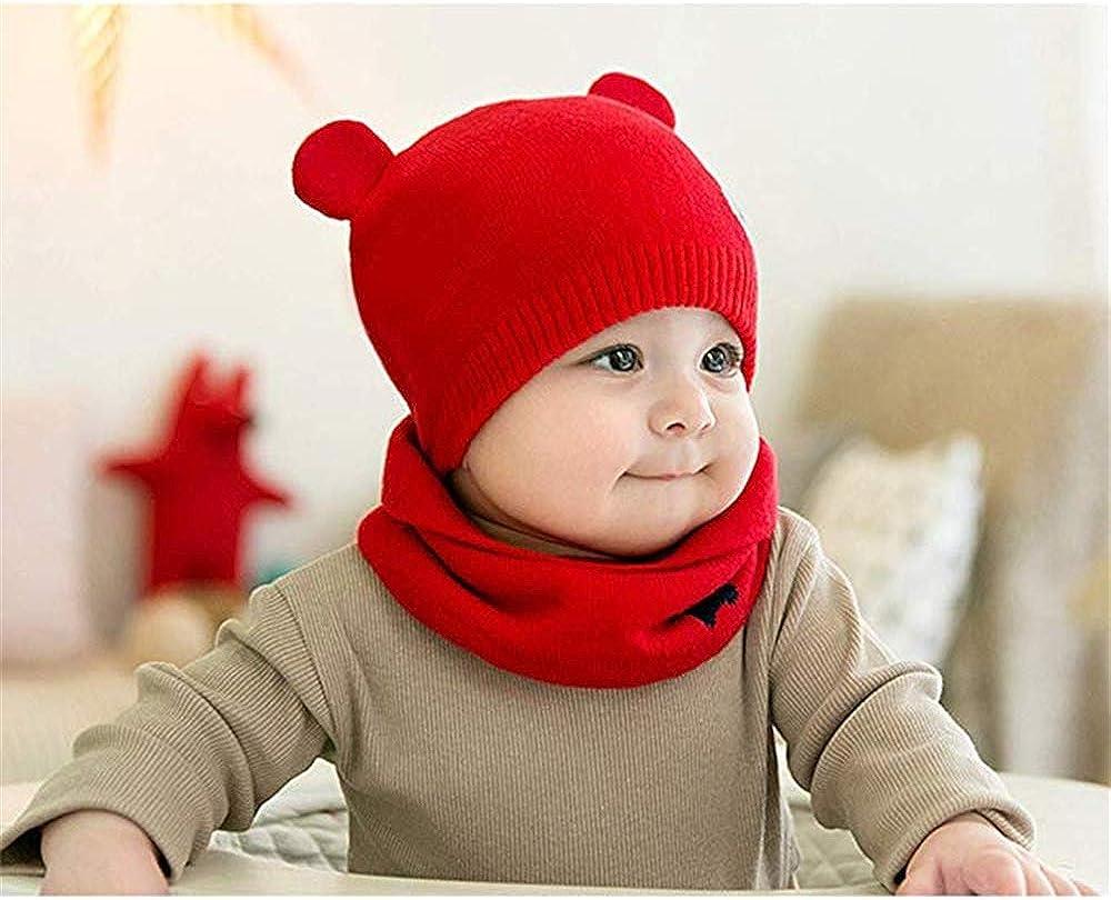 WIKEA Cappello del Bambino Autunno Invernale Carina Beanie Cappelli Berretto Bambini Infantili del Cappello per 0-36 mesi Bambino Set di Sciarpe