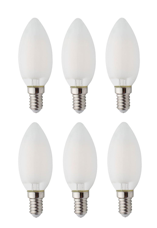 6-pacchetti dimmerabile AC 220V E14 LED Filamento Annata Lampadina, 2W LED Vetro smerigliato Lampadine di candela, 20W Lampadine a incandescenza Sostituzione, SES Lampadine di candela per il Lampadario, Bianco caldo JCKing