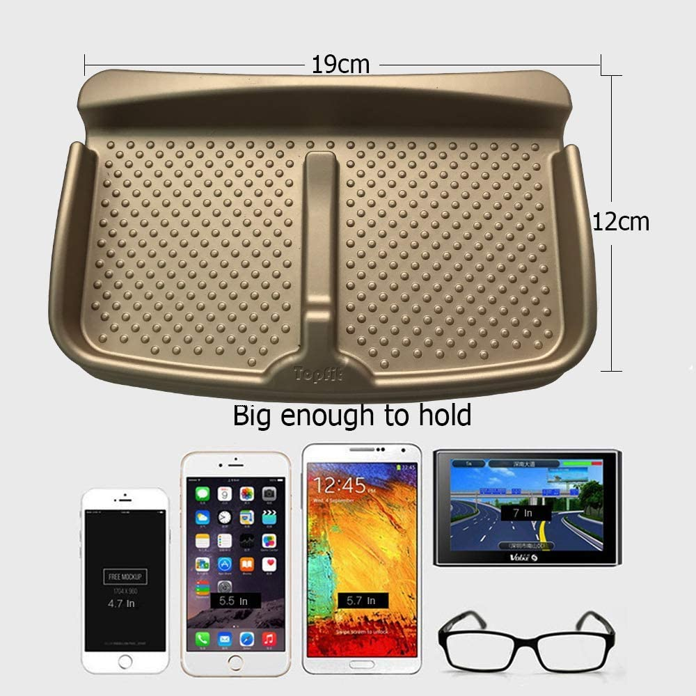 Cell Phone Holder Teslafamily Anti-Slip Durable Silicone Universal Fit Tesla Model S Model X Model 3 Car Dashboard Pad Mat Gold Sun Glasses Stand,GPS Navigation Holder,Cards pad