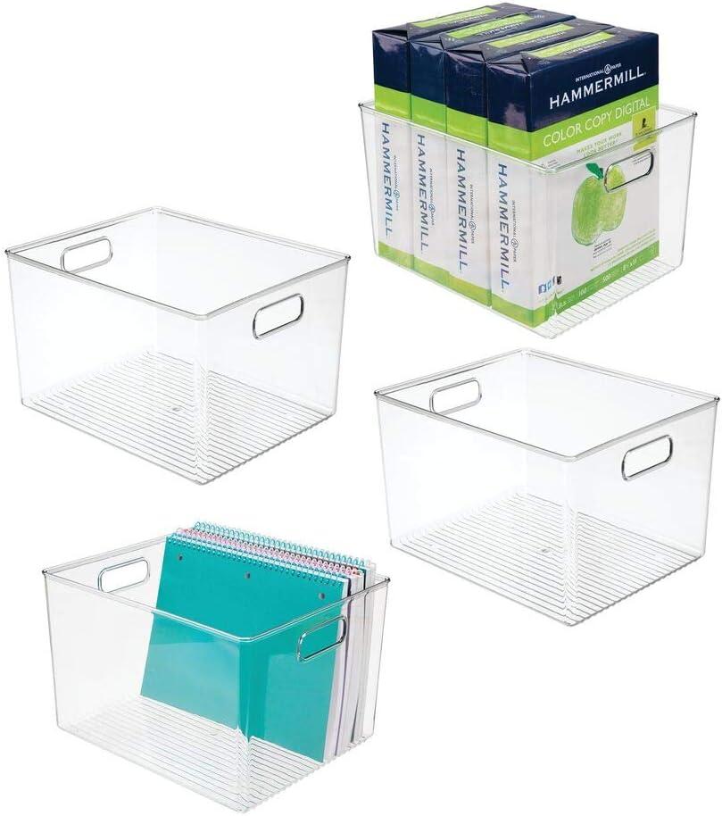 Contenedor pl/ástico multiusos para ba/ño transparente dormitorio y otras habitaciones mDesign Caja organizadora con asas integradas Pr/áctica cesta de almacenaje de bonito dise/ño