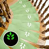Meiyiu Soft Home Stairs Non-Slip Mats Carpet Floor Protector Self-Adhesive Luminous Mat Fruit Green Embroidery 55 22 4.5cm