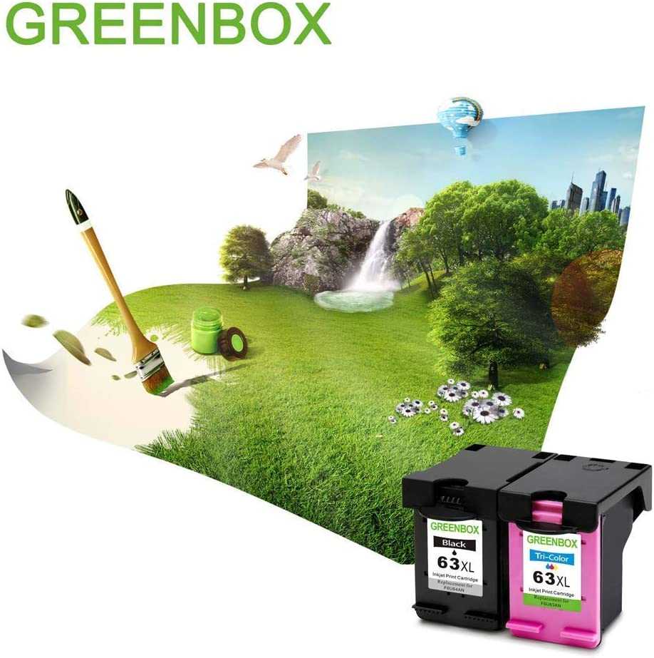 GREENBOX Re-Manufactured Ink Cartridge Replacement for HP 63XL 63 XL Used in Envy 4520 4516 Officejet 5255 5258 4650 3830 3833 DeskJet 1112 3632 2130 ...