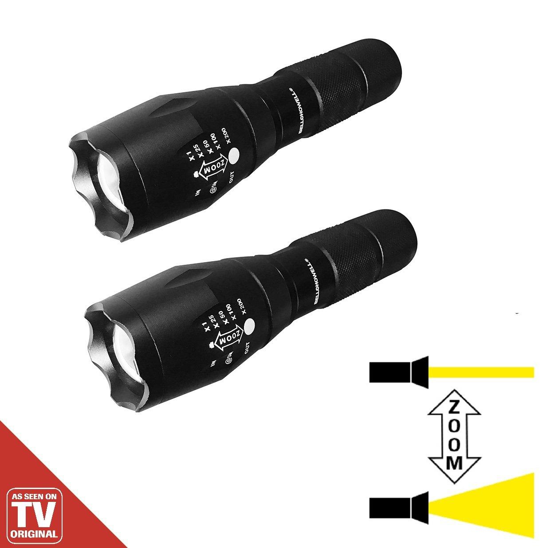 Tac Light LED Taschenlampe 2 Stü ck schwarz robust & ultrastark Zoomfunktion 5 Lichtmodi inklusive blendendem Schocklicht das Original von Mediashop