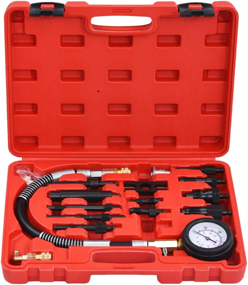 vidaXL 14 Piece Diesel Compression Gauge Test Kit Car Vehicle Hand Tools Compression Testers Pressure Tester Kits Garage Equipment