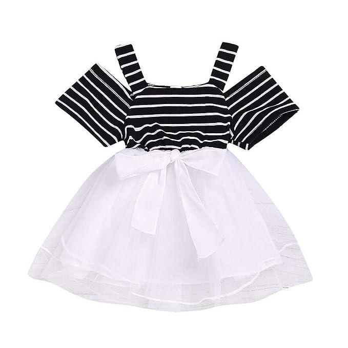 erthome - Vestido de Tul de retales de Rayas de 0 a 5 años Negro ...