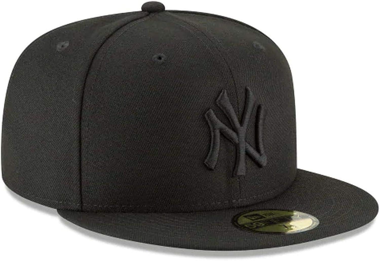 New Era Mens MLB Basic NY Yankees 59fifty Fitted Cap Black//Black