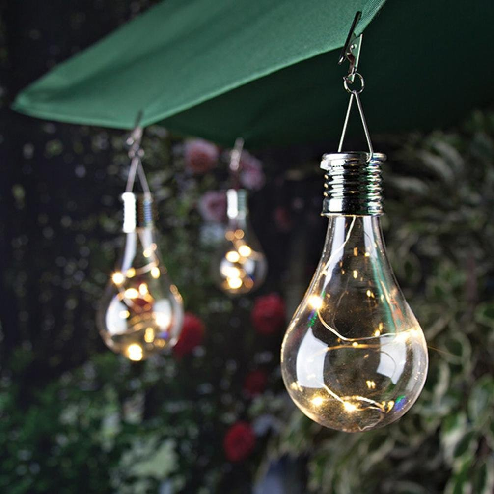 Thread_us Transparent Solar Copper Light Bulb Chandelier Waterproof Solar Rotary Outdoor Garden Camping Hanging LED Bulb (own Patented) (Clear)