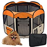 "Large 48'' Dia. x 36¼"" H Octagon Pet Playpen 600D Oxford Cloth Dog Puppy Exercise Pen Canine Train Kennel Orange w/ Mesh Cover Panels Zip Doors Tote Case Portable"