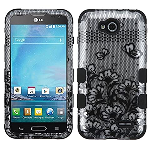 Asmyna TUFF Hybrid Phone Protector Cover for LG D415 (Optimus L90) - Retail Packaging - Black Lace (Covers Lg Optimus L90)