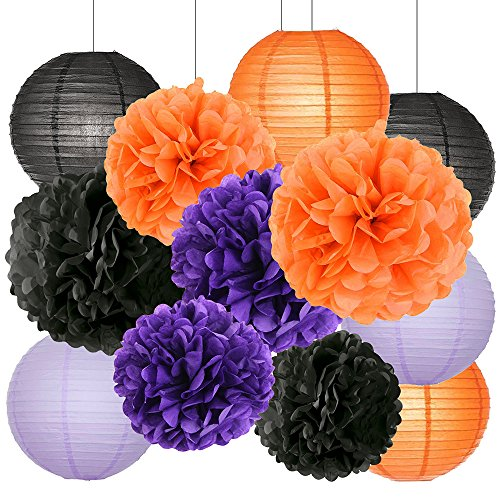 Black And Orange Party Decorations (Happy Halloween Party Decorations Kit Paper Lanterns Tissue Paper Pom Poms Black Orange Purple Theme Halloween Series Halloween Decoration Paper Flower)