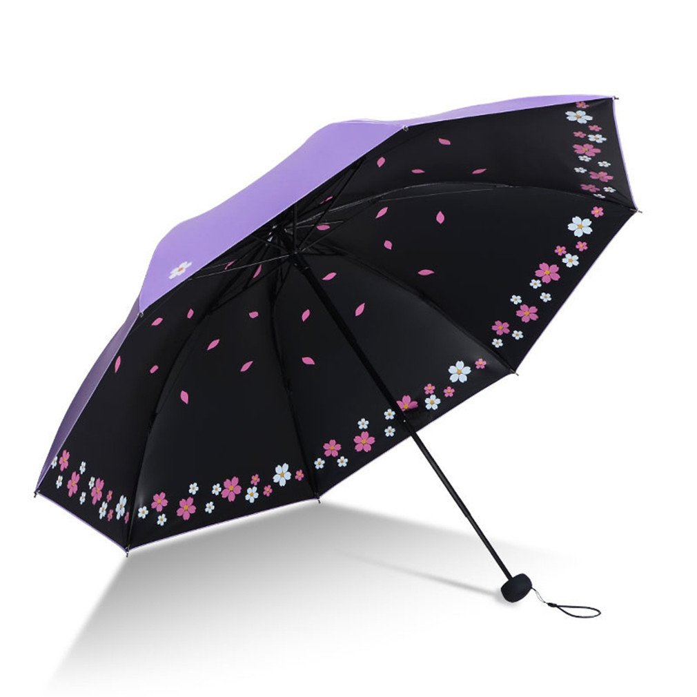 Guoke Black Rubber Blazing Sun Umbrellas Uv Girl Sunny Rain With Two Folding Umbrella, Spend - Purple