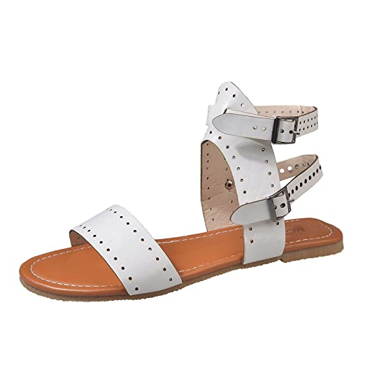 12a888b8e Women s Flat Sandals Open Toe Cutout Ankle Strap Double Buckle Flat Sandals  (White