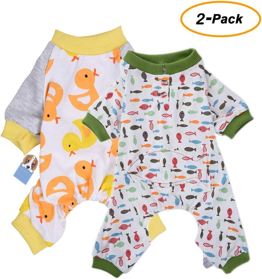 HongYH 2-Pack Ropa para Perros Perros Gatos Onesie Pijamas de Perro Suave Algodón Puppy Rompers Mono de Mascota Acogedor Body para Perros pequeños y Gatos