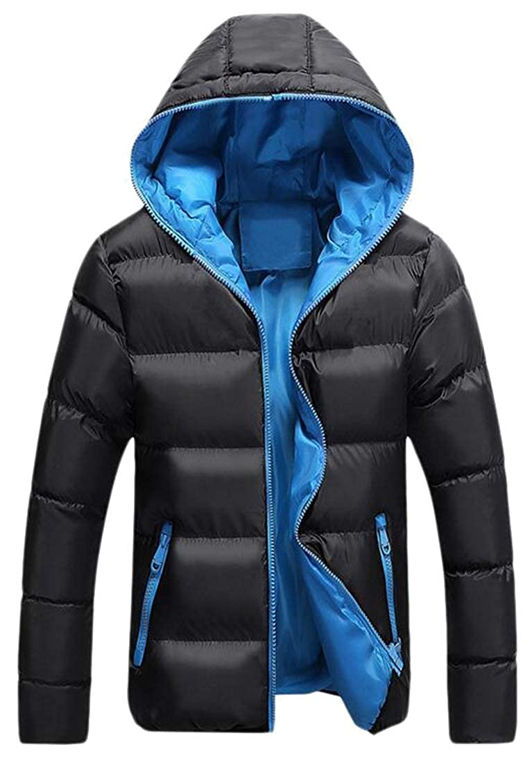 SHOWNO Men Warm Plus Size Fall Winter Hooded Thicken Quilted Jacket Coat Outerwear