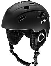 ENKEEO Skihelm 2-in-1 Helm Snowboardhelm Motorrad Bike Wind Schutzhelm mit abnehmbarem Innenfutter und Ohrenschützer, kompatible Skibrille