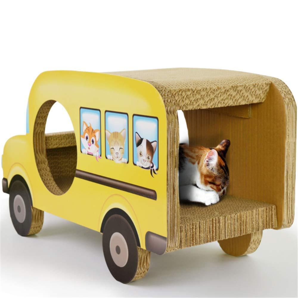 Daoxiang Corrugated paper cat playing board cat sofa yellow school bus passenger car cat scratch board, cat nest pet nest pet toy pet supplies
