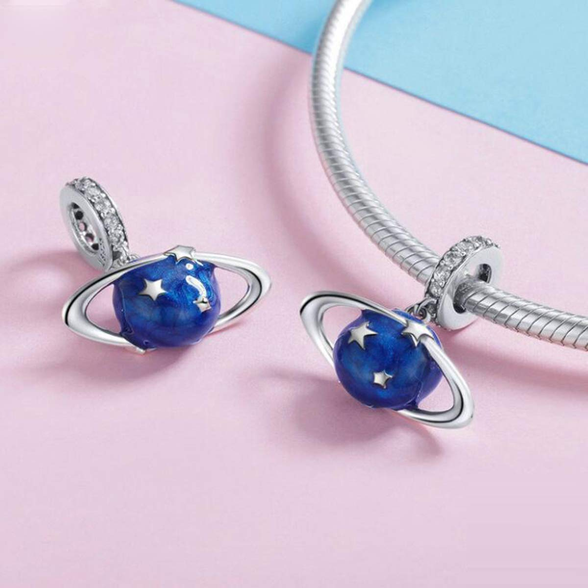 Aircraft Charms Ocean Blue Earth World Globe Dangle Beads Airplane Travel with Stars Crystals World Trip Charms I Love Travel Charm 925 Sterling Silver Charms Beads for European Charm Bracelets
